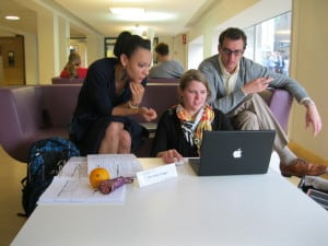 My study group (L->R: Tiffany, Christine, and Steven) and I (taking picture) finishing up our final project on the economic outlook for the E.U.