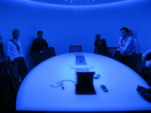 "This is Vodafone's ""decision room,"" where company strategy is formed. It's kept blue so that people don't get ""too comfortable"" when making big decisions. The Blue Man Group could totally spy on these meetings."