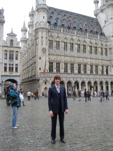Me (Chris) standing in Grand Place, Brussels, Belgium where we traveled to visit the de facto headquarters of the E.U.