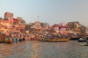 Boats docked at the docks of the Ganges river