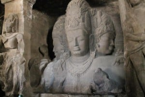 Elephanta caves in Mumbai built during 400 years carved in a mountain.