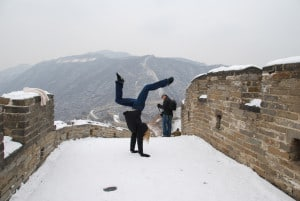 Mutianyu Great Wall, Beijing - What a magnificent site. Such a hard experience to describe. We took the toboggan (lift) up to the wall, and then had about 1.5 hours to walk around, take pictures and enjoy the site. Unfortunately, many of us were in a careful line holding onto the wall trying to manage the snow since we weren't really prepared for snow. But I still managed a handstand on the Great Wall!