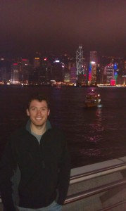 Viewing the Hong Kong skyline from across the river in Kowloon, after viewing the nightly laser show