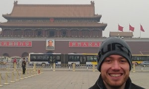Standing in front of the Forbidden City in Tianamen Square. Amazing being feet away from where the Tianamen Square incident took place