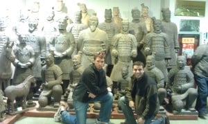 Posing with the Teracota Warriors (the replica warriors)
