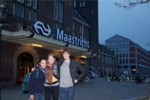 Maastricht - Some nice people helped us along the way to find the right train and we eventually made it. We were so happy to arrive we decided to take a victory picture in front of the train station sign!