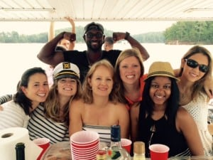 A group of 2017 EvMBAs enjoying Boat Day on September 12, 2015 at Lake Allatoona.