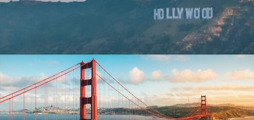 Hollywood Sign and Golden Gate Bridge