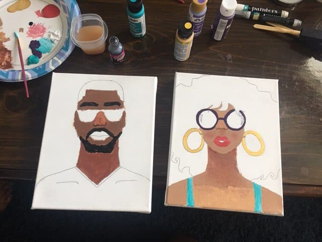 At-home painting activity. Pre-stenciled canvas by Donjhaé Jones, an African-American visual artist.
