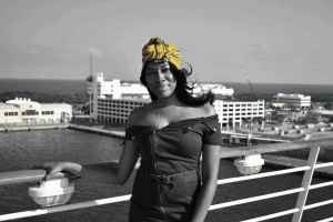 Racquel Waite on a cruise heading to Jamaica (pre-COVID-19)