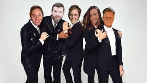 "My core team, ""The Fake Meghans,"" as the ""Fab 5"" from Netflix's Queer Eye. Pictured from left to right: Kait Capone (as ""Bobby""), Andrew Nickerson (as ""Karamo""), AJ Hobbs (as ""Antoni""), Meghan Renfrow (as ""Jonathan""), and Addison Winkler (as ""Tan"")."
