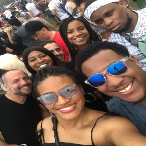 Front row (left to right): Kristen Little '21, Mikayah Merrell '21; Back row (left to right): Gustavo (our guide), Racquel Waite '21, Uri Tammuz '21, Lyndsey Fridie '21 and Chis Anen '21 at a Carnival party in Sao Paulo
