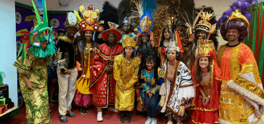 Full-time '20 and '21, and one-year '21 students with Professor Jan Barton (right corner) after touring a samba school in Rio de Janeiro