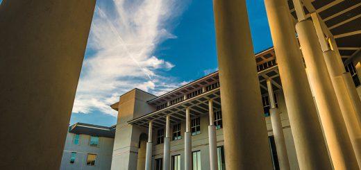A view of campus through columns